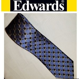 👔Silk Tie-Edwards Garments-Blue Honeycomb 59""